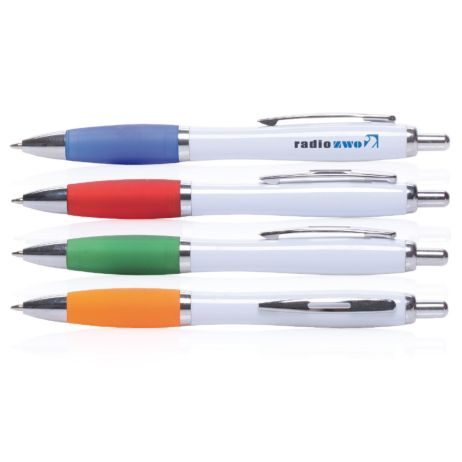 Druckkugelschreiber White Sway mit Metall-Clip und farbiger Griffzone