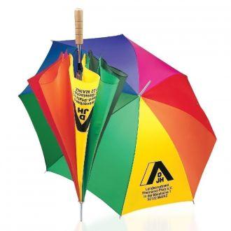 WERBETIPP 36 x Stockschirme Regenbogen inklusive einfarbigem Werbedruck