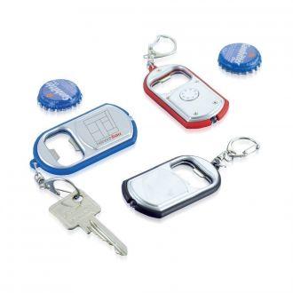 Schlüsselanhänger mit Kapselheber und LED-Lampe