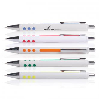 Druckkugelschreiber Crema mit gummierter Griffzone und Farbakzenten