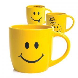 Tasse Gute Laune mit Smiley-Gesicht, gelb im 3er Set