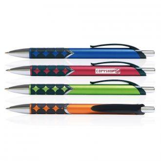 Druckkugelschreiber Prisco mit gummierter Griffzone und schwarzem Clip