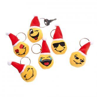 Schlüsselanhänger 6er Set Emotionen-Symbole mit Weihnachtsmütze