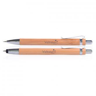 Schreibset Amazonas mit Druckbleistift und Kugelschreiber aus Bambusholz