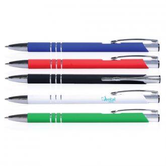 Metallkugelschreiber Faro mit Soft-Touch-Oberfläche, blauschreibend