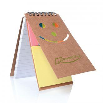 Notizbuch Smile aus Naturkarton mit Haftnotizen