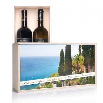 Wein-Partnerschaft Rot-u. Weißwein in Holzkiste