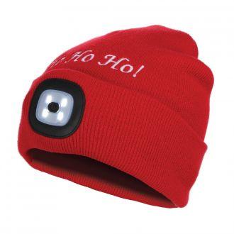 "Mütze rot ""HoHoHo"" mit LED"