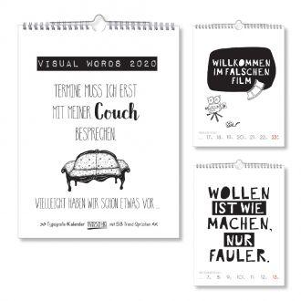 Wandkalender Visual Words 52 Wochen, Wire-O Bindung