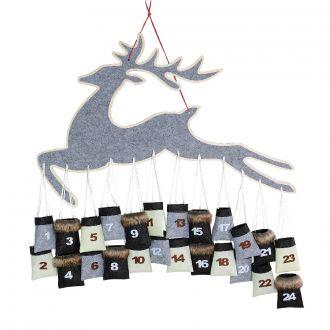Adventskalender Rentier Filz grau mit 24 Säckchen