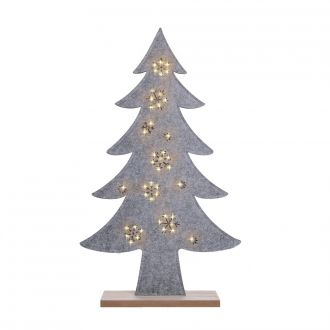 LED-Filztanne auf Holzsockel grau