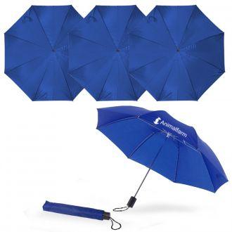 WERBETIPP 36 x Taschenschirme blau inklusive einfarbigem Werbedruck
