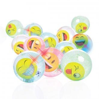 LED Glitter Flummis 12er Set Emotionen Symbole