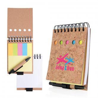 Kork-Haftnotizbuch mit Minikugelschreiber, schwarzschreibende Mine