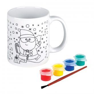 Weihnachtstasse Drink & Draw bemalbar, Keramik