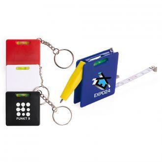 Schlüsselanhänger Handily mit Wasserwaage, Kugelschreiber und Meterband