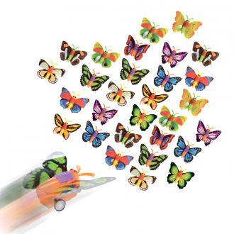 Bunte Spielzeug-Schmetterlinge mit Rückzug im 30er Set, farblich sortiert