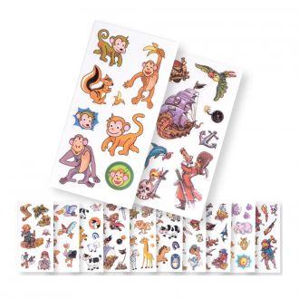 Kinder-Tattoos mit Tieren und Piratenmotiven 15er Set auf Karte vielfach sortiert