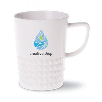 Prozellan Tasse Diamond weiss Ausführung mit Werbedruck