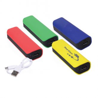 Soft-Touch-Powerbank, 2.600 mAh, 9 x 3 x 2,5 cm