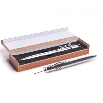 Kugelschreiber 3 in 1 mit Laserpointer und LED in Geschenkbox