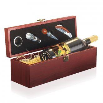 Holz-Wein-Box inkl. 1 Fl. Rotw inkl. 1 Flasche Rotwein