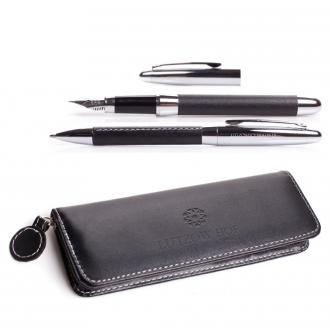 Schreibset mit Drehkugelschreiber und Füller in schwarzem Lederetui