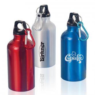 Trinkflasche aus lackiertem Metall mit Karabinerhaken, 400 ml