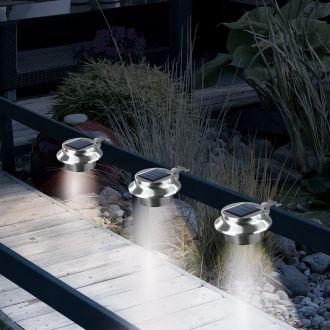 EASYMAXX Solar-Leuchte Dachrinne 3er-Set