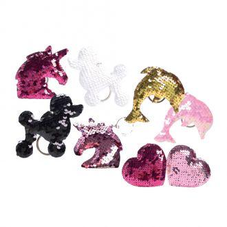 Schlüsselanhänger Tiere mit Pailletten, 4-fach-sortiert im 8er-Set