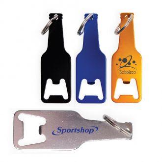 Metallschlüsselanhänger mit Flaschenöffner in Form einer Flasche, 9 cm
