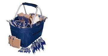 Einkaufskorb mit Kugelschreiber Werbeset, blau